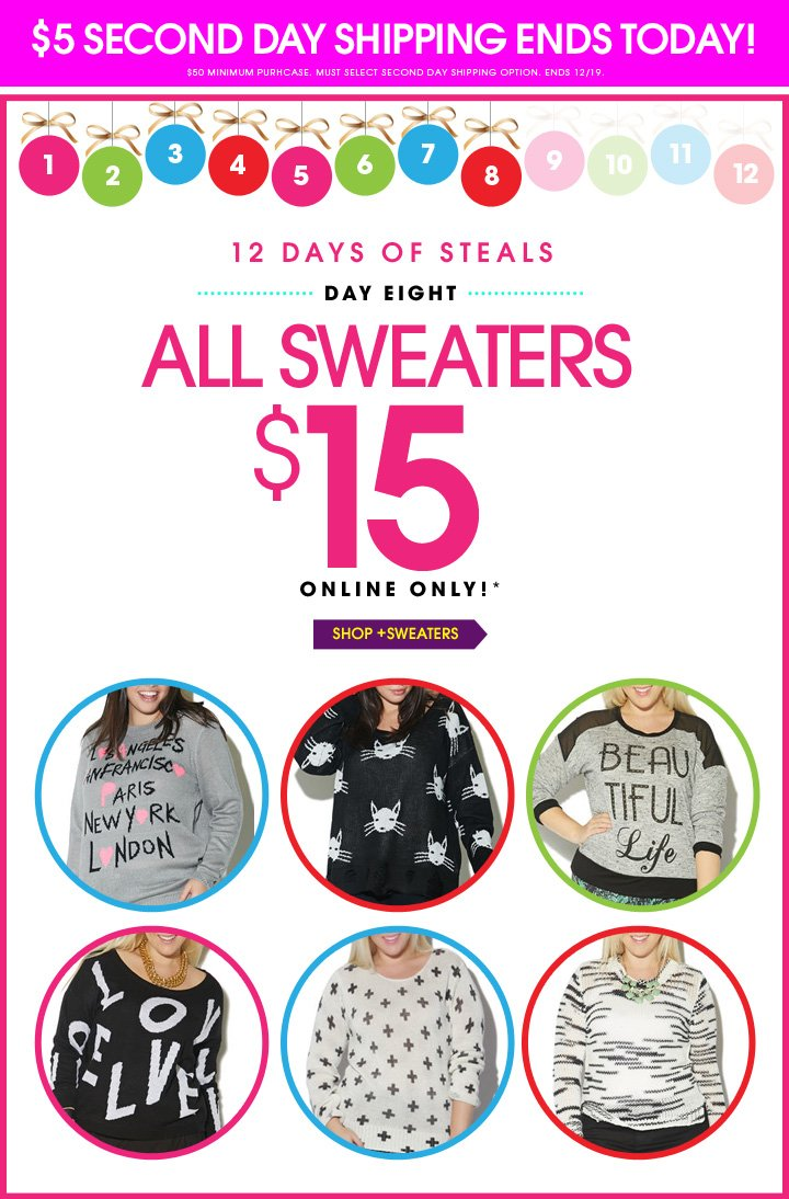 All Sweaters $15!