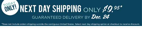 Today Only! Next day shipping only $9.95. Guaranteed delivery by December 24th