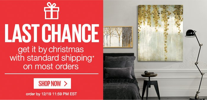 LAST CHANCE - get it by christmas with standard shipping* on most orders - SHOP NOW - order by 12/19 11:59 PM EST