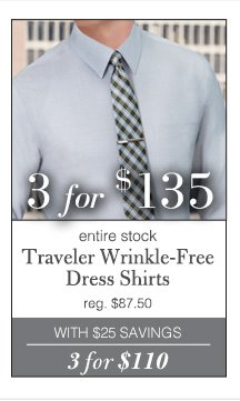 3 for $135 USD - Traveler Wrinkle-Free Dress Shirts