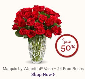 Marquis by Waterford® Vase + 24 Red Roses - Save 50% Shop Now