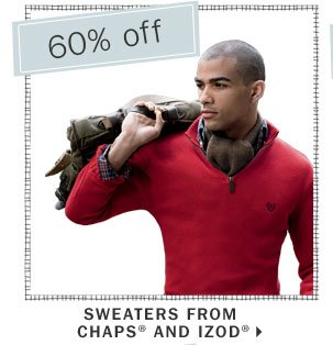 60% off wweathers from Chaps® and Izod®