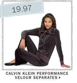 19.97 Calvin Klein Performance velour separates.