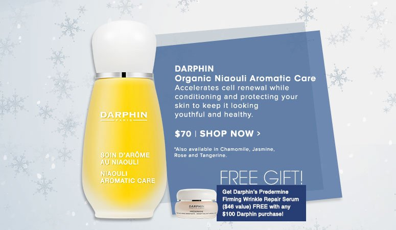 Darphin Organic Niaouli Aromatic Care Accelerates cell renewal while conditioning and protecting your skin to keep it looking youthful and healthy.*Also available in Chamomile, Jasmine, Rose and Tangerine. $70.00 Shop Now>>