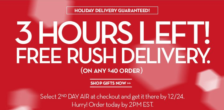 HOLIDAY DELIVERY GUARANTEED! 3 HOURS LEFT! FREE RUSH DELIVERY. (ON ANY $40 ORDER). SHOP GIFTS NOW. Select 2ND DAY AIR at checkout and get it there by 12/24. Hurry! Order today by 2PM EST.