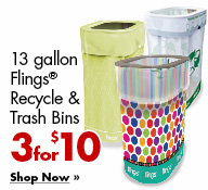 13 Gallon Flings(R) Recycle & Trash Bins