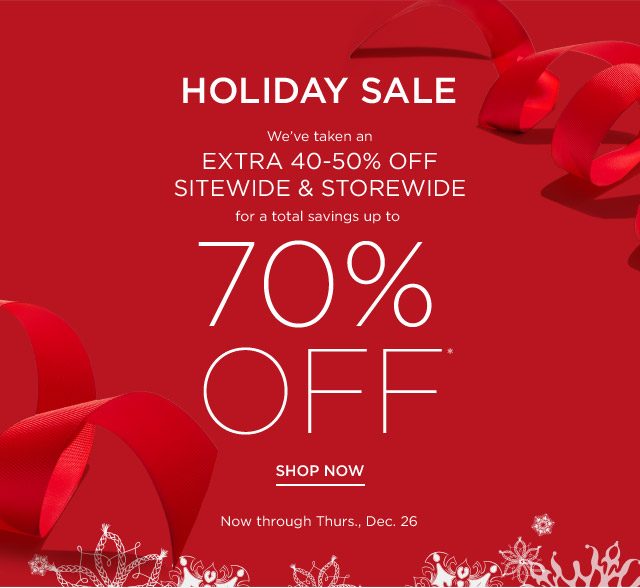 Up to 70% off Holiday Sale