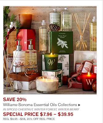 SAVE 20% - Williams-Sonoma Essential Oils Collections IN SPICED CHESTNUT, WINTER FOREST, WINTER BERRY -- SPECIAL PRICE $7.96 - $39.95 - REG. $9.95 - $58, 20% OFF REG. PRICE