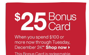 $25 Bonus Card