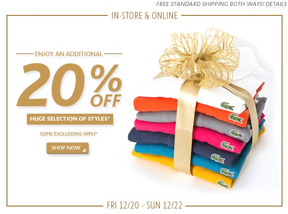 In Store and Online - 20% OFF
