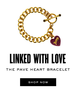 LINKED WITH LOVE. The Pave Heart Bracelent. SHOP NOW.