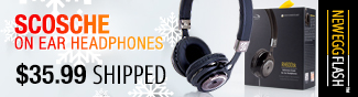 Newegg Flash - Scosche On Ear Headphones.