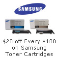 20 Off Every 100 On Samsung Toner Cartridges.