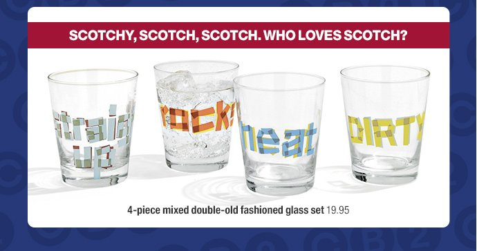 4-piece mixed double-old fashioned glass  set 19.95