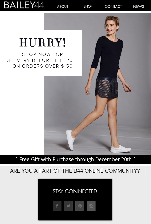 HURRY!  SHOP NOW FOR DELIVERY BEFORE THE 25TH ON ORDERS OVER $150