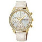 Seiko SNDX74 Women's Chronograph MOP Dial White Leather Strap Gold Tone Steel Watch