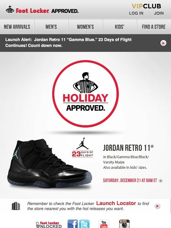 new styles 36128 2af25 Foot Locker: 12/21 Launch Alert: Jordan Retro 11