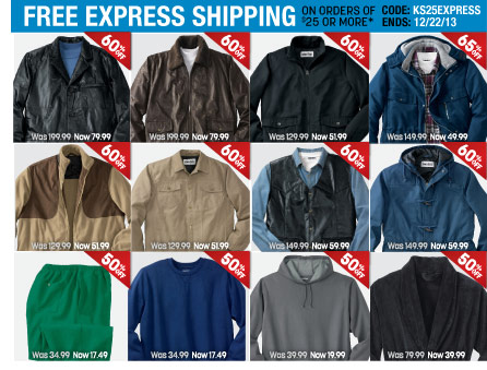 free express shipping on orders of $25 or more - code: KS25EXPRESS ends: 12/22/13