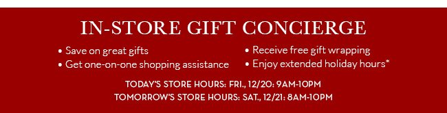 In Store gift concierge