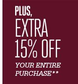plus and extrea 15% off