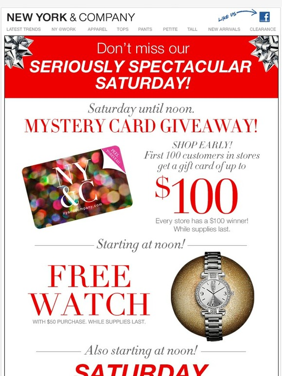 New York & Company: $100 mystery card. A free watch. Doorbusters ...