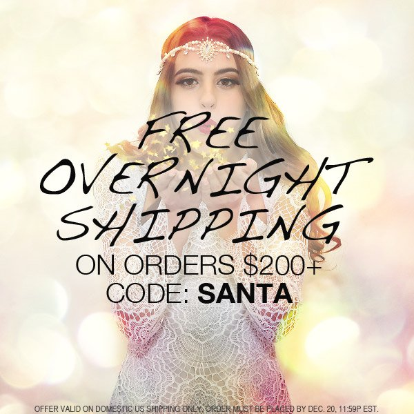 Free overnight shipping on all orders over $200!