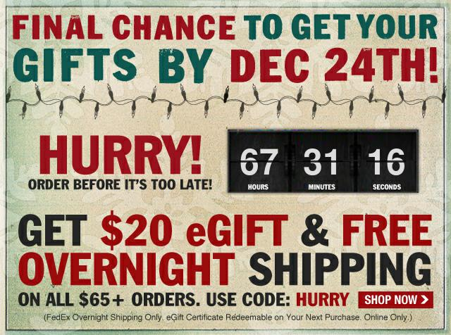 Free Overnight Shipping Plus a $20 eGift on $65! Use Code HURRY