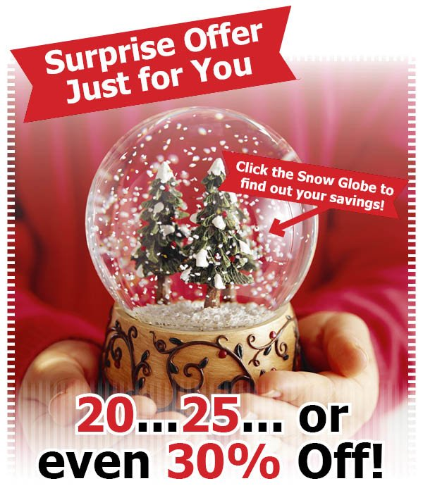A Surprise Offer Just for You 20...25... or ever 30% Off! click the snow globe to find out what you will save!