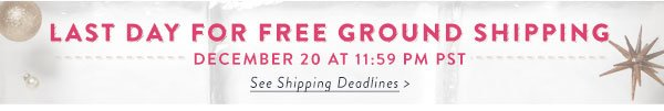 Last day for free ground shipping - December 20 at 11:59 PM PST. See shipping deadlines