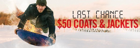 Shop 12 HRS ONLY: $50 Coats & Jackets