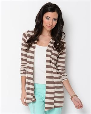 Always Me Elbow Patch Detail Two-Tone Stripe Cardigan - Made in USA