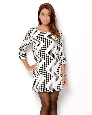 Peach Love Cream California Zig Zag Print Dress