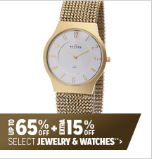 Up to 65% off + Extra 15% off Select Jewelry & Watches**