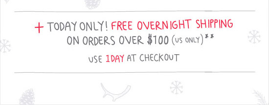+ Today only! Free overnight shipping on orders over $100 (US only)** Use 1DAY at checkout