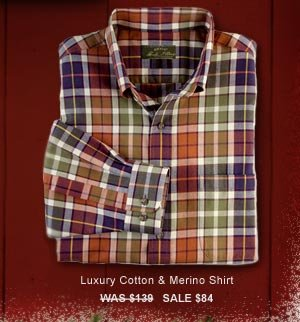 Luxury Cotton & Merino Shirt   WAS $139   SALE $84