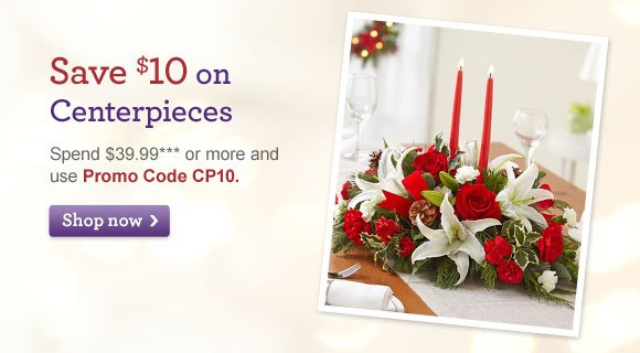 Save $10 on Centerpieces Spend $39.99*** or more and use Promo Code CP10. Shop Now
