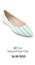 MITJU Striped Pointy Flats
