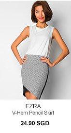 EZRA V-Hem Pencil Skirt
