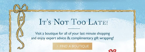 It's Not Too Late To Shop