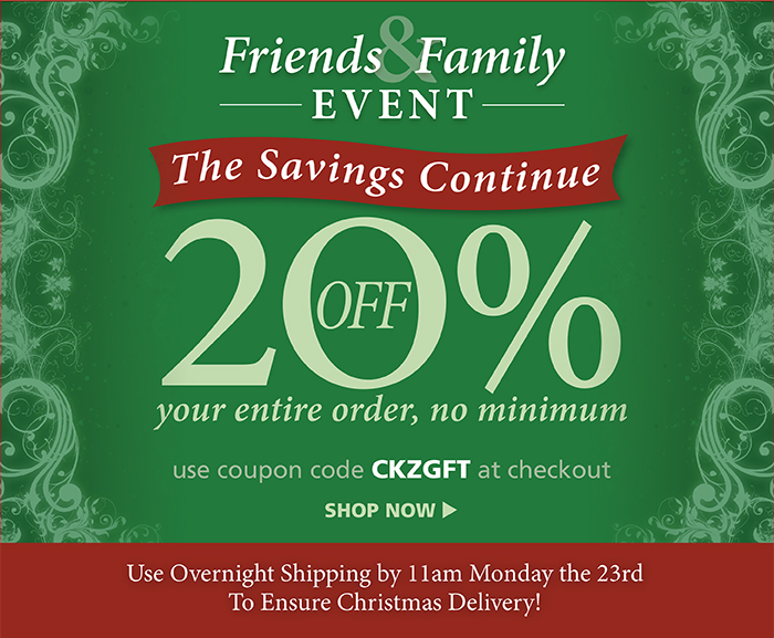 20% off your order with code CKZGFT