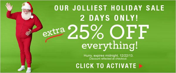 2 Days Only: Extra 25% off everything