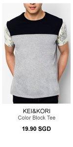 Kei&Kori Color Block Tee with floral sleeves