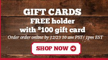 Gift Cards Free Holder with $100 Gift Card