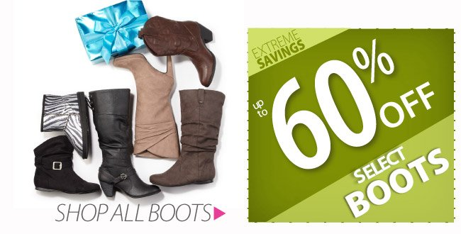 Up to 60% off select Boots