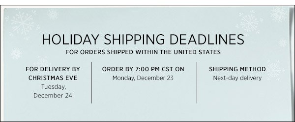 Domestic Holiday Shipping  >>