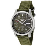 Seiko SNK805 Men's 5 Green Canvas Strap Green Dial Automatic Day Date Watch