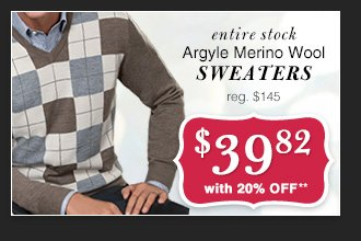 $39.82 USD - Argyle Merino Wool Sweaters