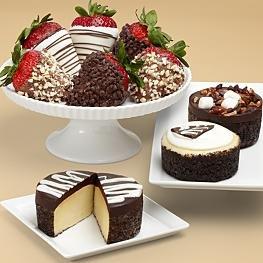 Cheesecake Trio and Half Dozen Fancy Strawberries