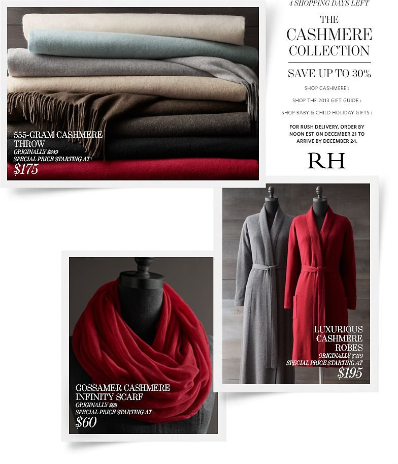 4 Shopping Days Left. The Cashmere Collection - Save up to 30%.