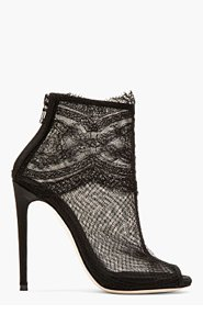 DOLCE & GABBANA Black Lace & mesh ankle boots for women